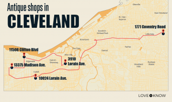 Map of Antique Shops in Cleveland