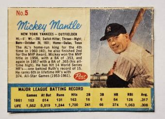 Mickey Mantle 1962 Post Cereal Card #5