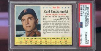 1963 Post Cereal #80 Carl Yastrzemski