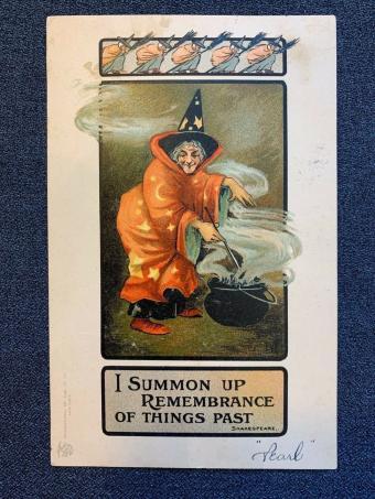 1910s Witch Cauldron Halloween Postcard