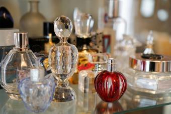 antique perfume bottles on shelf
