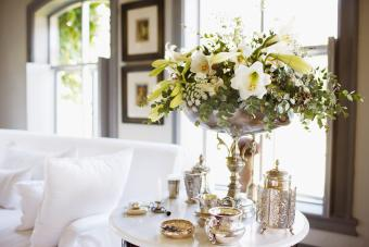 Bouquet and Antique Silver on Living Room Table