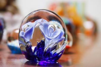 Antique blue glass paperweight