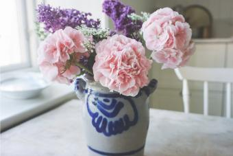 Pink Flowers Vase On Table