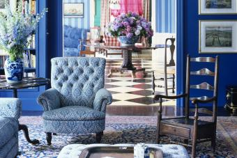 Blue Rooms on Main Floor of Traditional Home