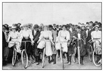Victorian women on bicycles
