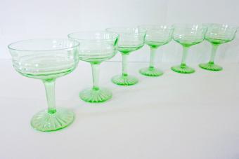 Vintage Green Depression Glass Wine Glass Coupe SET 6 Stemware Barware Circle Pattern