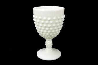 Fenton Milk Glass Footed Cup, Water Goblet, Hobnail Body