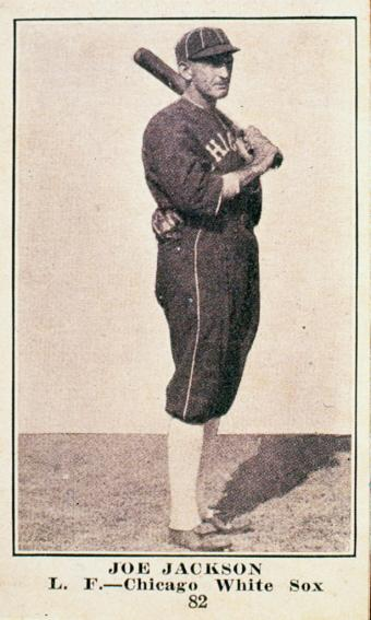 Candy card features American baseball player Joe Jackson (1887 - 1951), of the Chicago White Sox