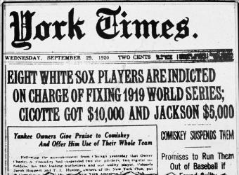 'Black Sox' Scandal Headline on old newspaper