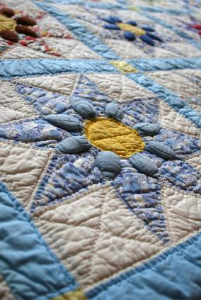 A vintage star pattern quilt.