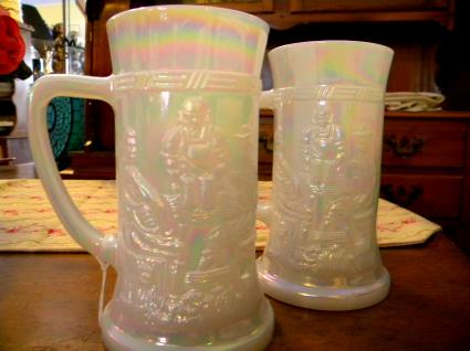 White carnival glass
