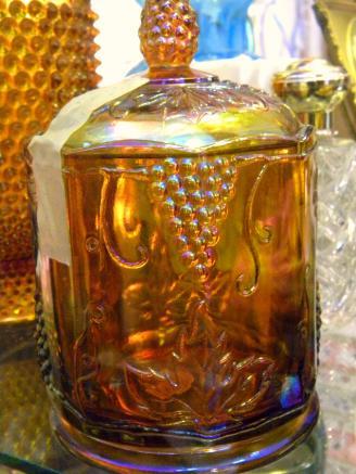 Carnival glass jar