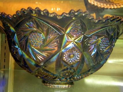 Carnival glass green punch bowl