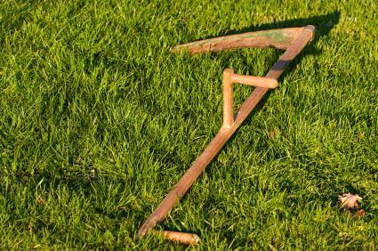 Scythe in grass