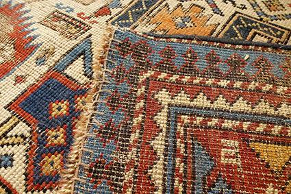 Backside of antique rug
