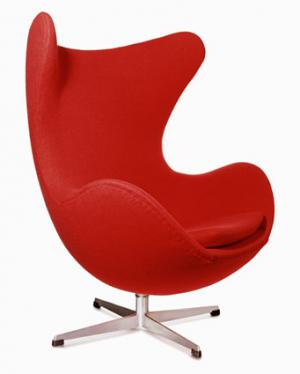 A red Egg chair by Arne Jacobsen