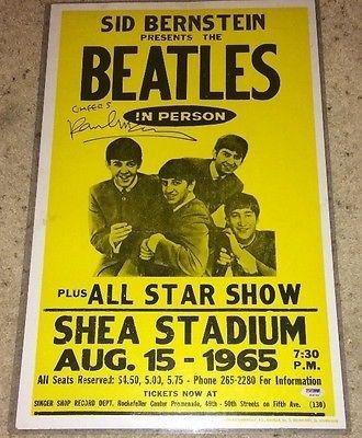 Paul Mccartney Signed Autograph Beatles 1965 Shea Concert Poster