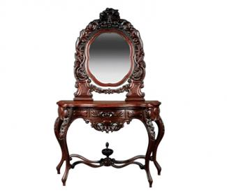 American Rococo Carved Walnut Dressing Table