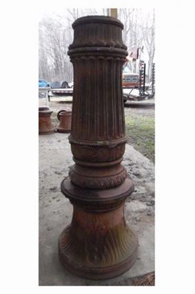 Pre-1910 Cast iron street pole base column from Detroit