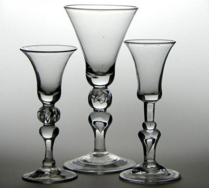 Three crystal stemware glasses