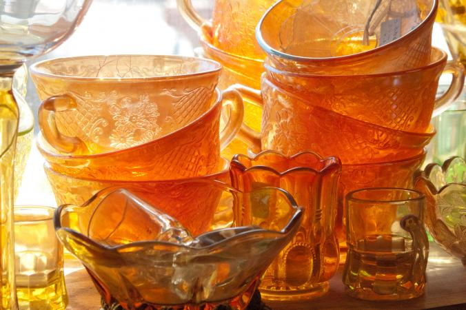 Cracked antique glass cup