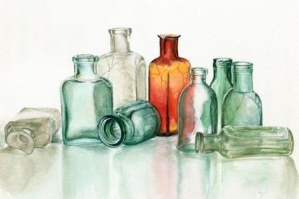 Cracked glass bottles