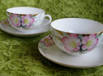Azalea Pattern Teacups by Noritake