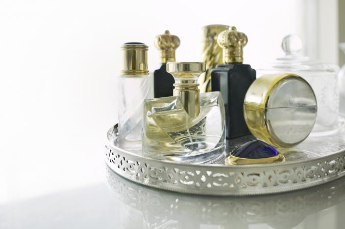 Perfume bottles on a mirror tray Source. An antique vanity ... - Antique Vanity Mirror Tray LoveToKnow
