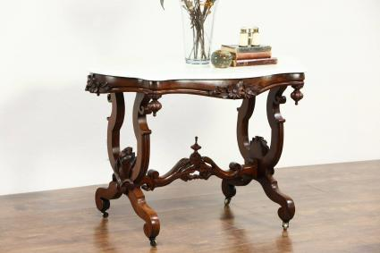 Antique Marble Top Carved Walnut Table