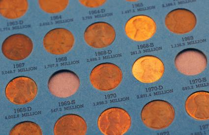 pennies in a collector's booklet