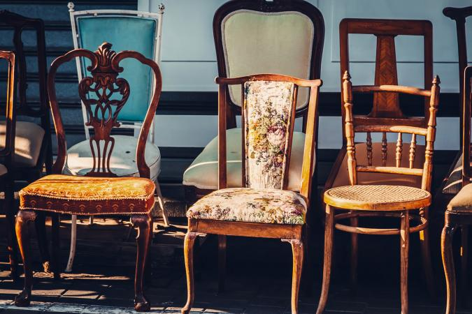 Vintage chairs for sale on flea market