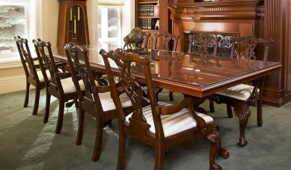 Formal Dining Room with Chippendale chairs