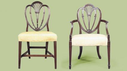 George III mahogany chairs, in the Hepplewhite style
