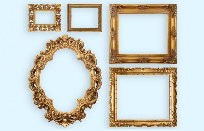 Set of five gold frame designs
