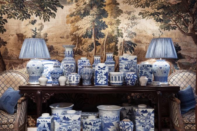 A collection of Chinese blue and white porcelain planters