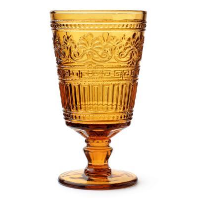 Vintage amber pressed glass goblet