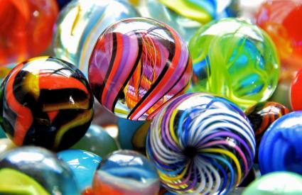 Colored glass marbles of varying designs