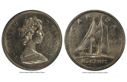 Canada, Large Date - Large Ship 10 Cents 1969