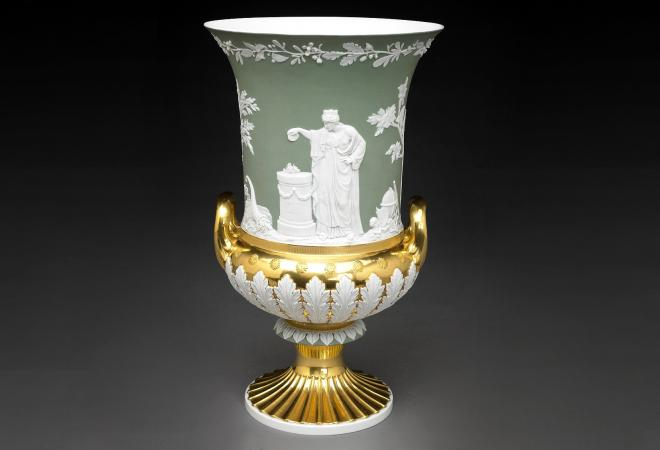 A porcelain vase made at the Meissen manufactory in the Wedgwood style