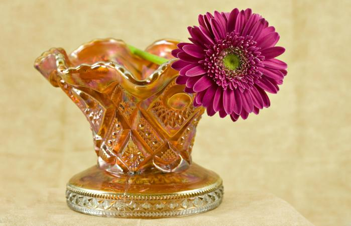 Pink daisy in carnival glass vase