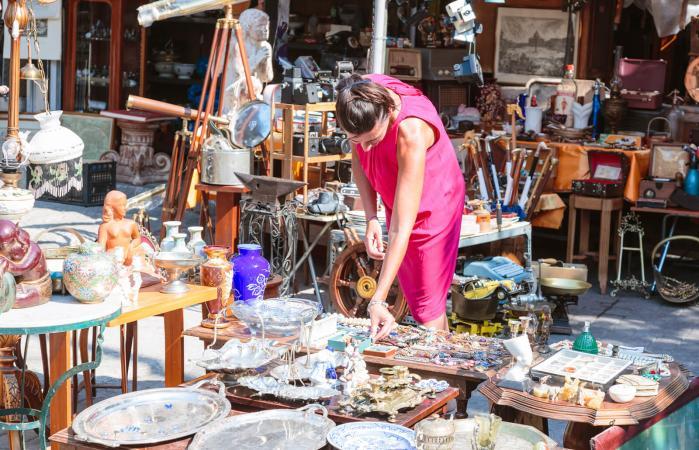 Woman in a flea market