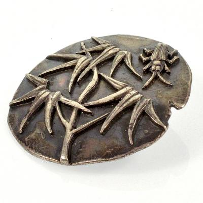 Sterling Beetle Bug Insect Button C. 1880-1890 Signed