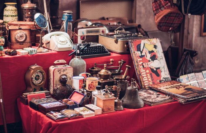 vintage objects at flea market
