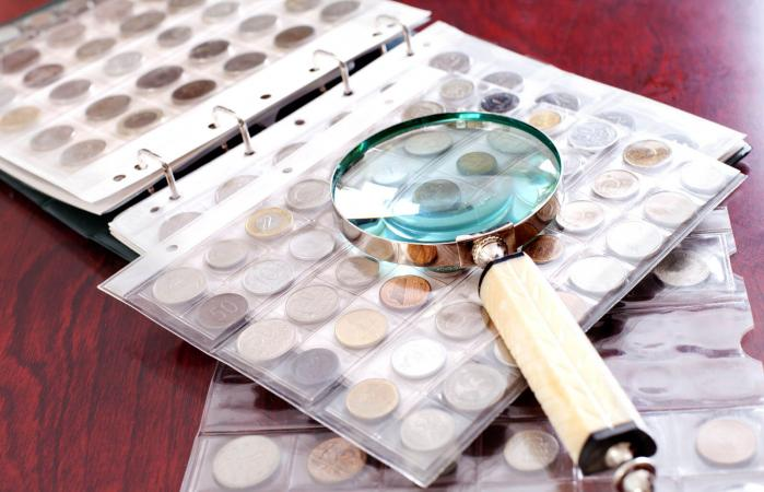 Coin Collection on the table