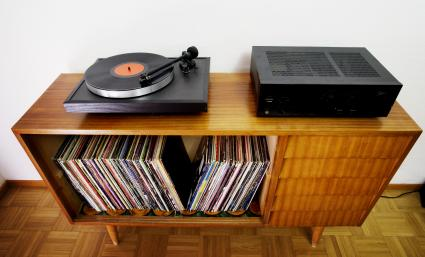 vintage furniture being used for storing records