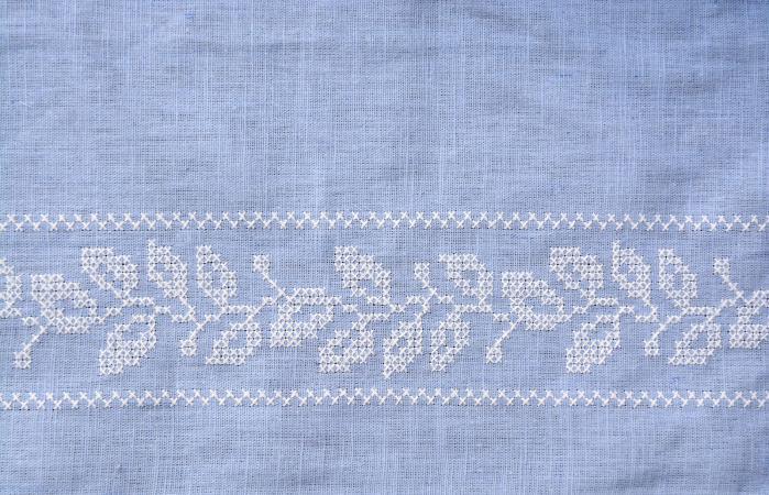 blue embroidery tea towel