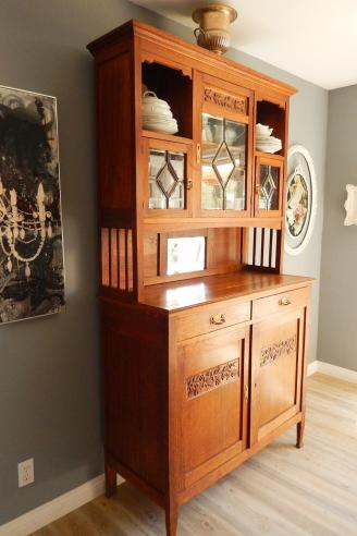 Antique Arts & Craft Hutch Cabinet - Farmhouse Oak Cupboard