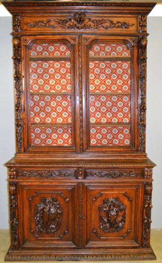 Carved Oak Step Back China Cabinet