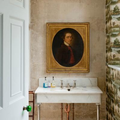 Oil painting in bathroom